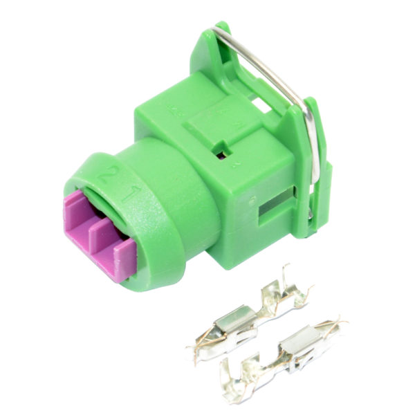 Connector, Junior Timer 2 Pin Connector, Including Terminals, Green (KV Type) 16404